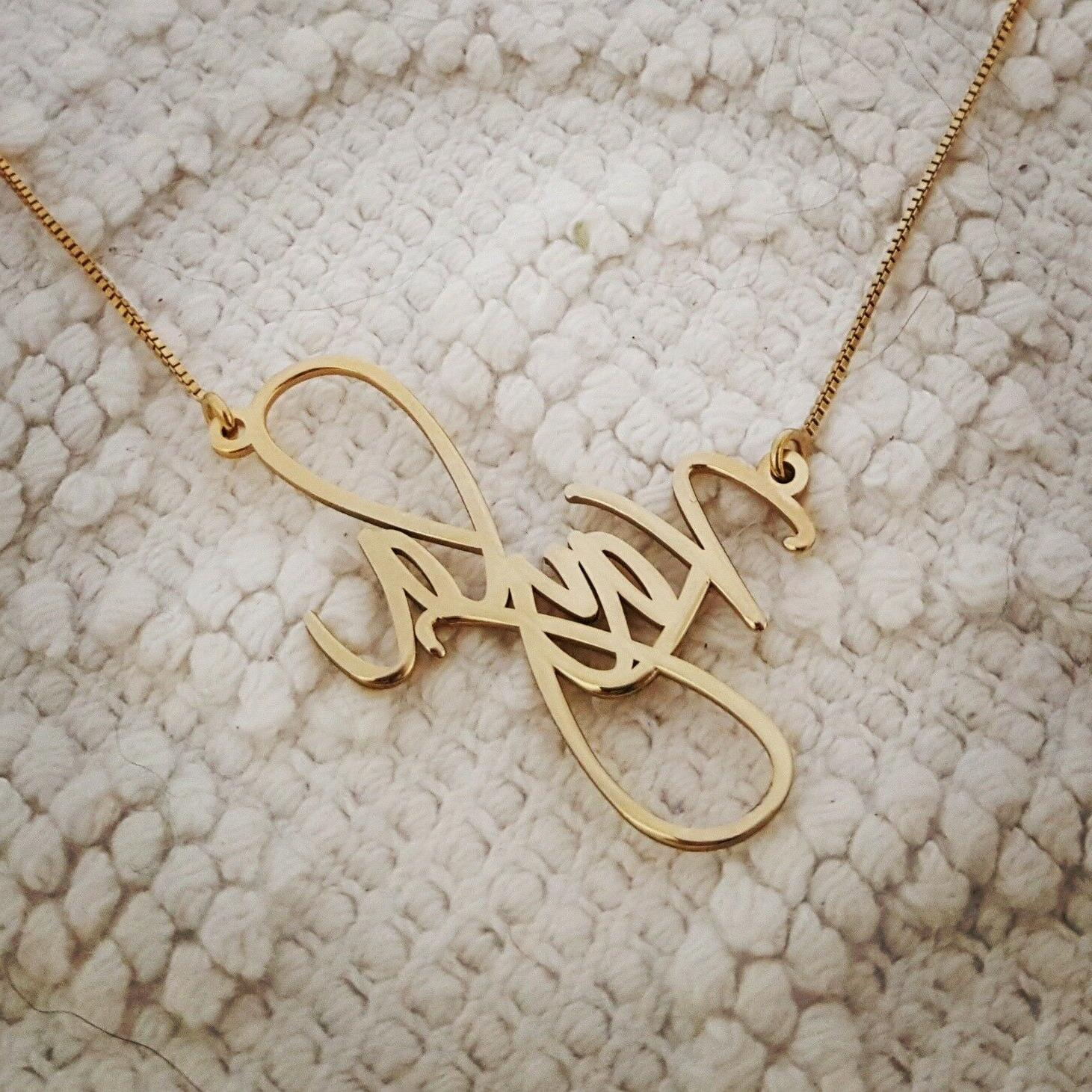 14k Solid Yellow Gold Personalized Name Necklace, Kayla neck