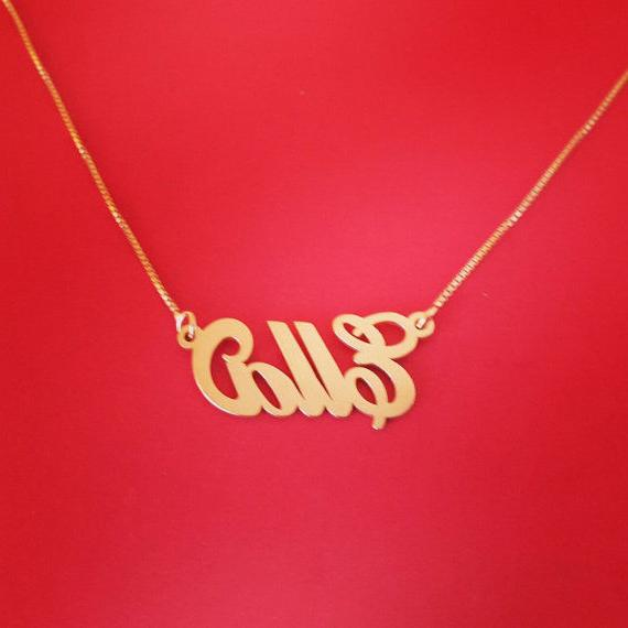 14 Carat Gold Necklace, Gold Gold, Order any name necklace