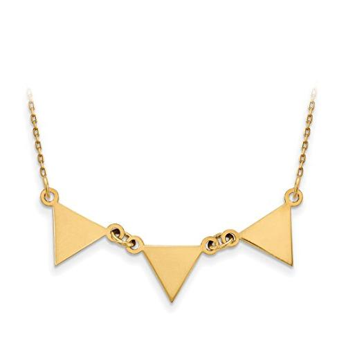 Jewelry Necklaces Contemporary 14k White Gold 3 Attached Triangle Necklace