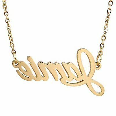 18k gold plated cursive name necklace chain