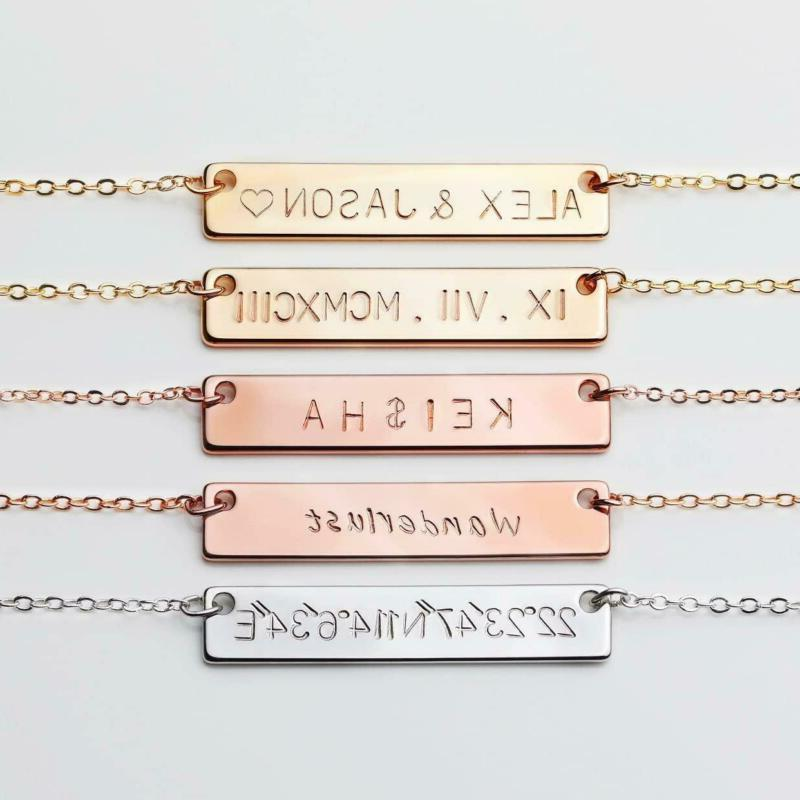 925 Silver Bar Pendant Necklace Engraved Any Letter S