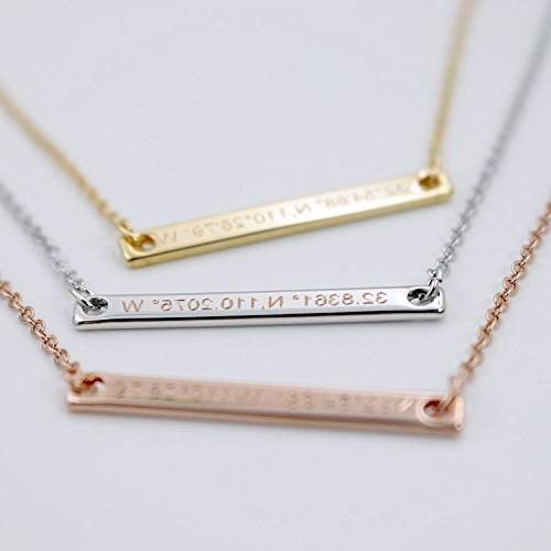 A Coordinate bar Customized Diamond Engraving Gold GPS Personalized bridesmaid Graduation Anniversary Gift GIFT TIL