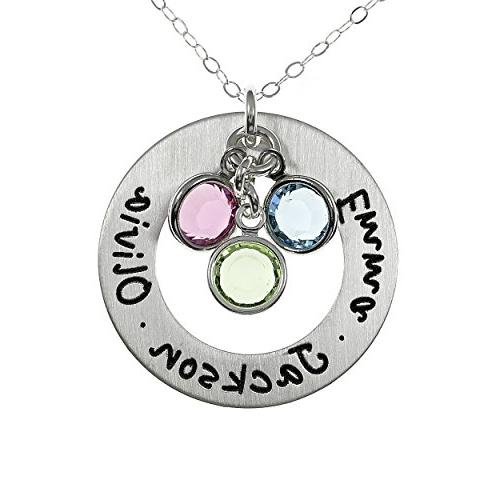 3d9f8ad7185 AJ`s Collection Sterling Silver Round Washer Personalized Pendant