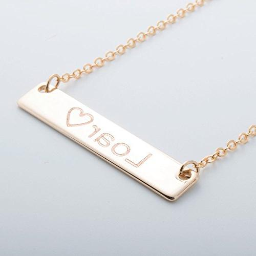 Personalize Name Bar Necklace 16k Gold Silver RoseGold Plate