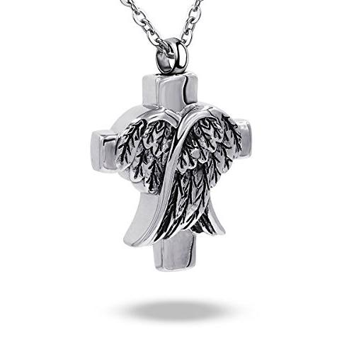COCO Park Angel Wing Cross Pendant Urn Necklace for Ashes Keepsake Stainless Ste