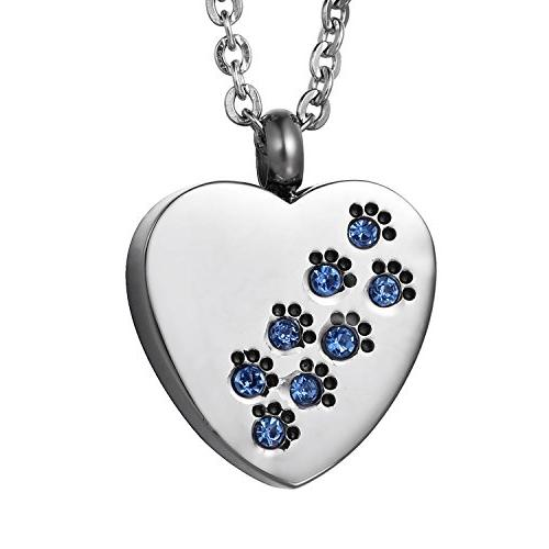 COCO Park Blue Diamond Paw Love Heart Pet Cremation Jewelry