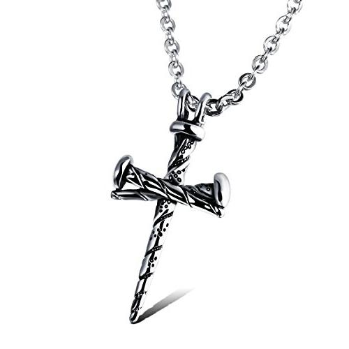COCO Park Men Punk Jewelry Stainless Steel Nail Cross Charm