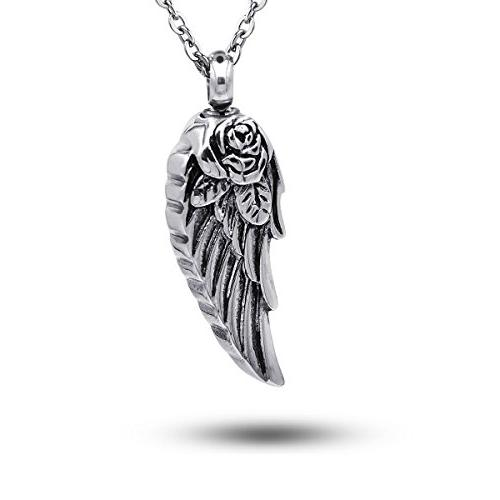 COCO Park Stainless Steel Angel Wing Ash Pendant Cremation J
