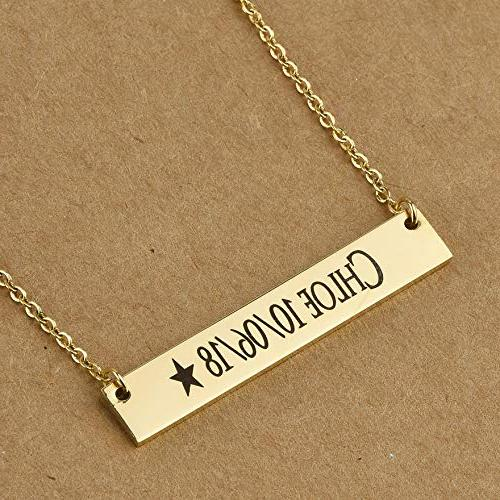 Caramel Sweet Stainless Horizontal Necklace with Chain