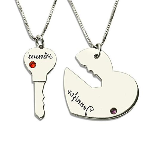 364c581102 Couples Necklace Key to My Heart Personalized Name Necklace