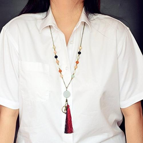 Crimmy - Beaded Necklace - Copper Badge - Jewelry Convertable Tassel and