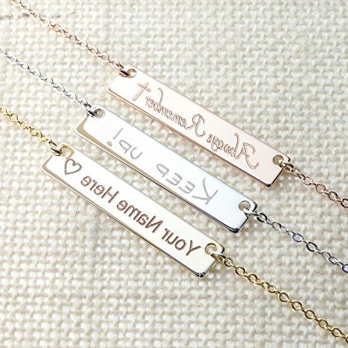 ❤️Customizable Your Bar Necklace Gold Engraving Personalized Bridesmaid Wedding