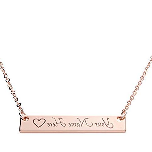 ❤️Customizable Your Name Bar Necklace 16k Gold Plated En
