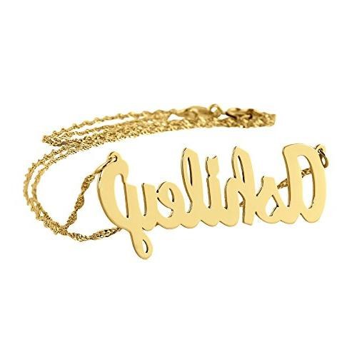 Dainty Name Necklace 10k Gold Personalized Pendant Chain 1.2
