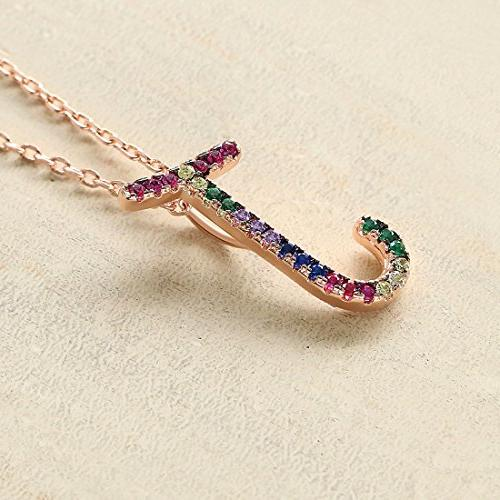 Gemmance Name Gifts Purple Pink Green Pendant Color AAA Gold Plated,