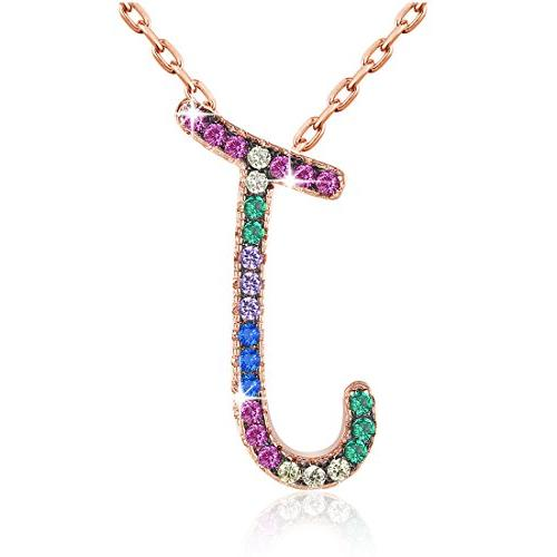 Gemmance Name Initial Necklace Gifts for Women Blue Purple A
