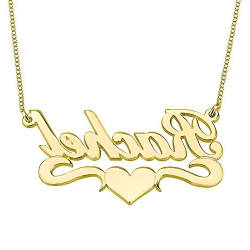 HACOOL Personalized Name Necklace Pendants in 18K Gold Plate