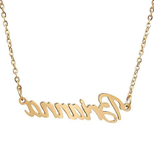 gold plated cursive names necklace