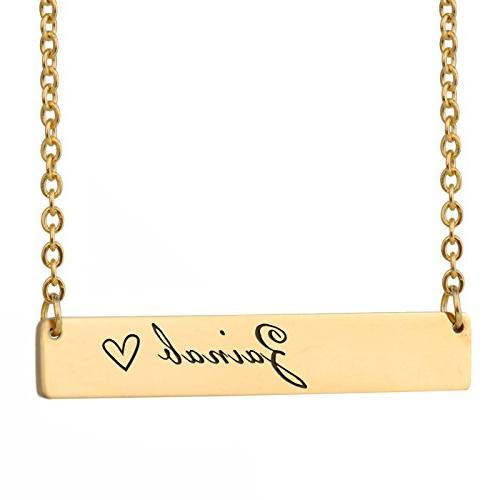 HUAN XUN Zainab Name Name Necklace Personalized Silver Bar Initial Necklace  Personal Jewelry Birthday Valentine Gift