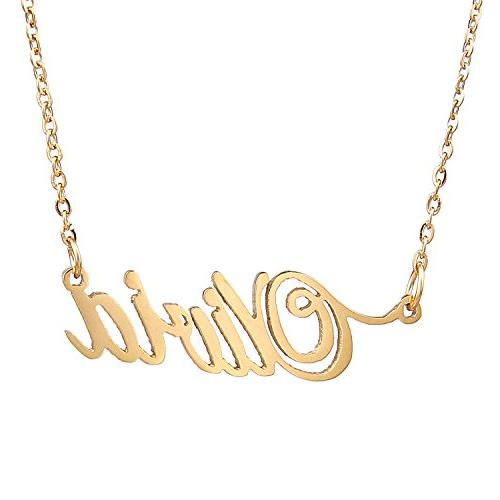 HUAN XUN Gold Color Plated Cursive Name Necklace,
