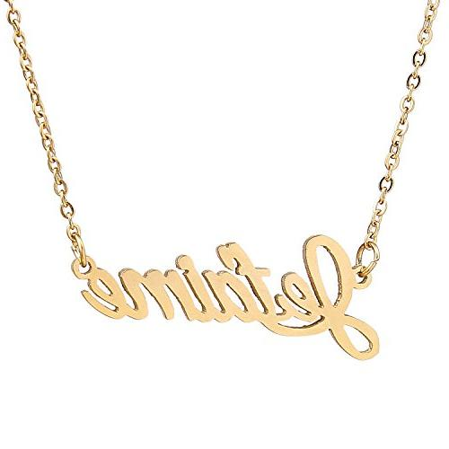 gold plated novelty jetamine name pendant necklace