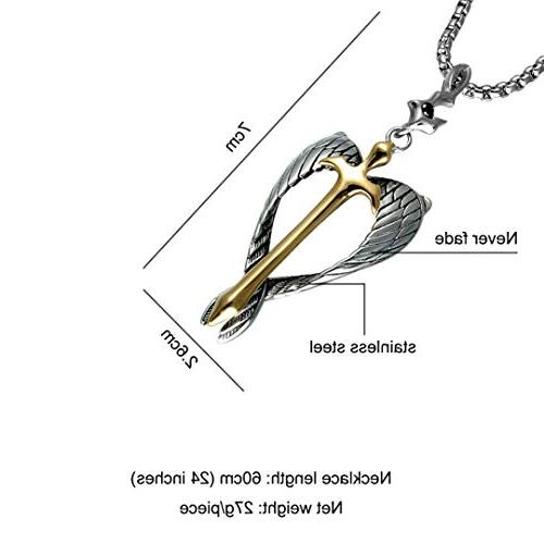 LIVEGNS Religious Gold Cross Pendant Necklace Stainless Steel