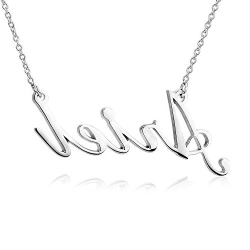 LONAGO Sterling Silver Personalized Name Necklace 18K White