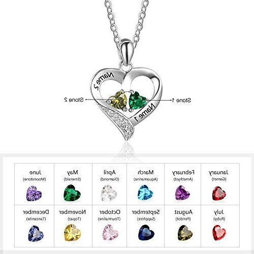Love Personalized Names Necklace with 2 Heart Simulated Birthstone