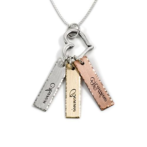 Mixed Tone Triple Bar Sterling Silver Personalized Necklace