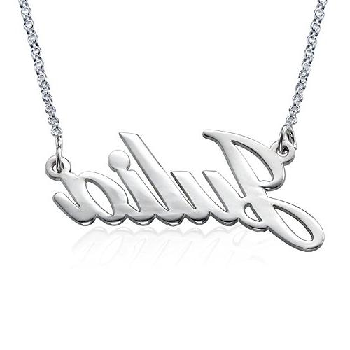 Name Necklace in Sterling Silver 925 - Custom Inscribed Pend