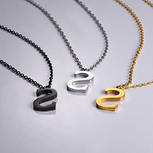 PROSTEEL Letter Necklace,Alphabet Name Jewelry,Men/Women,Personalized Bridesmaid Minimalist Party Gift,Stainless Gun Plated,P2819H