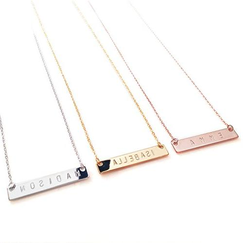 Personalized Necklace Bar Women Necklace Rose Initial Necklace Name Necklace
