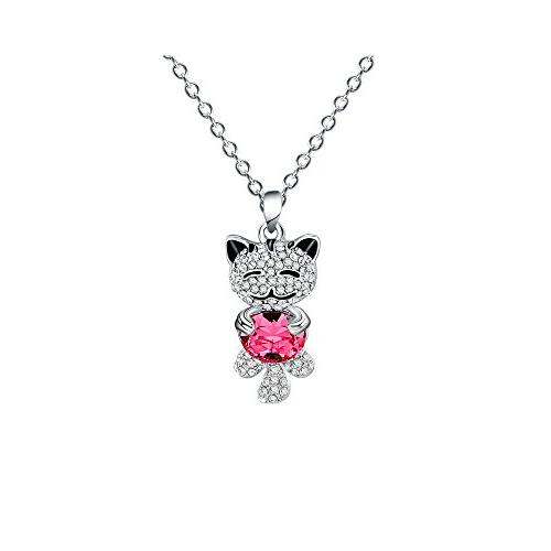 Ruoling Cute Lucky Cat Swarovski Crystal Pendant Necklace fo