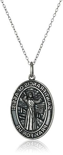 Sterling Silver Oxidized St. Francis of Assisi Oval Medallio