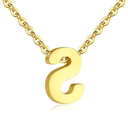 TOUGHARD Polished Tiny Initial Alphabet Letter Pendant Neckl