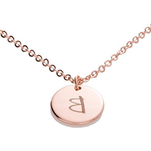 a customizable initial disc necklace 16k gold