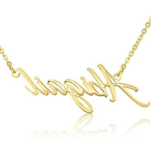 abigail nameplate necklace in gold tone