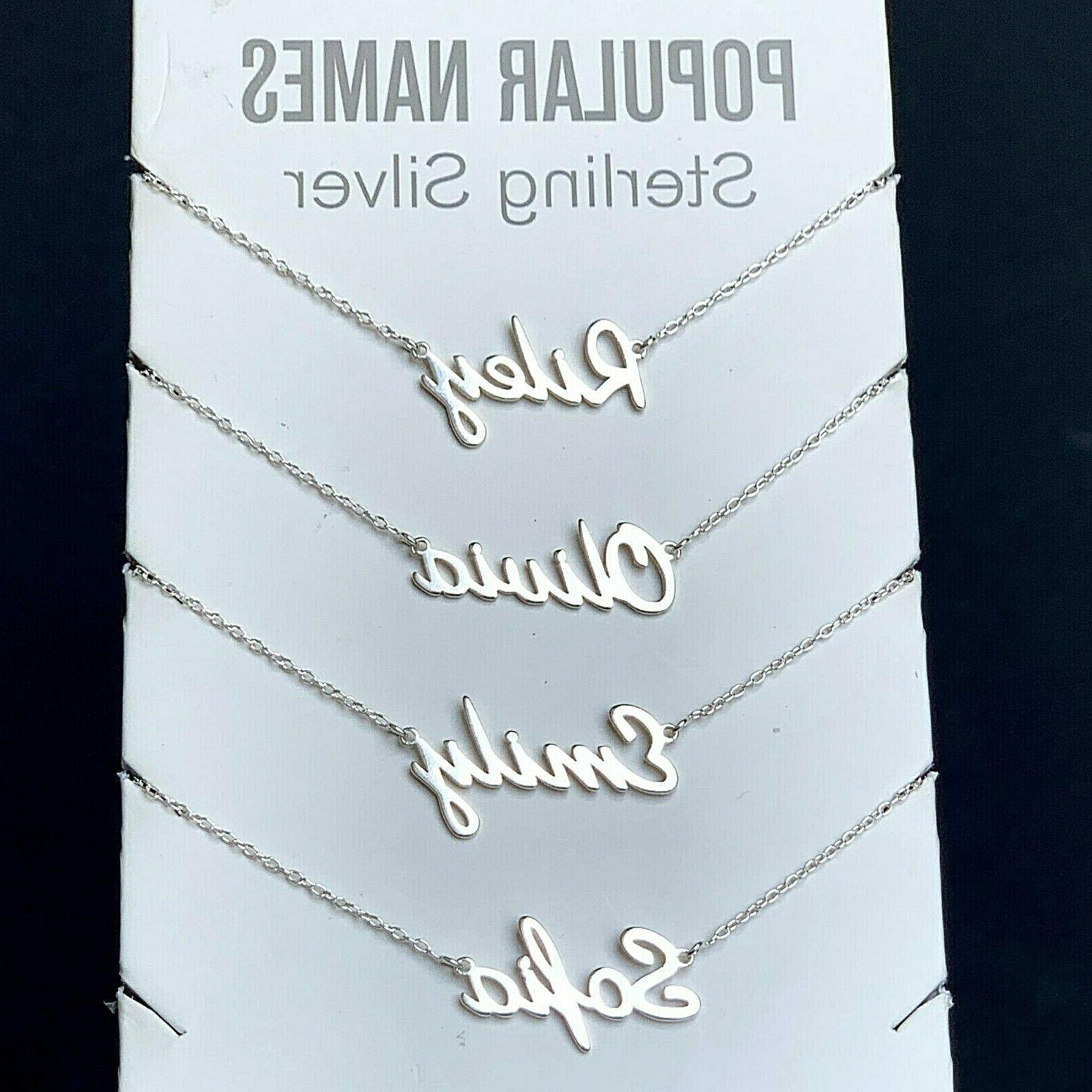 any name plate necklace personalized custom sterling