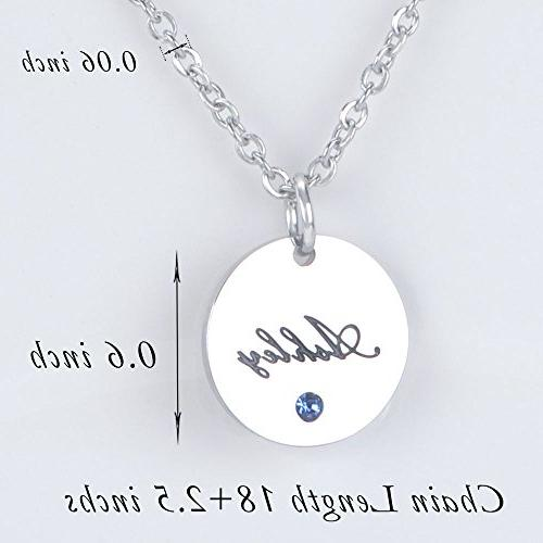 Bala Ashley Name Personalized Birthstone Disc Round Pendant Circle Disk