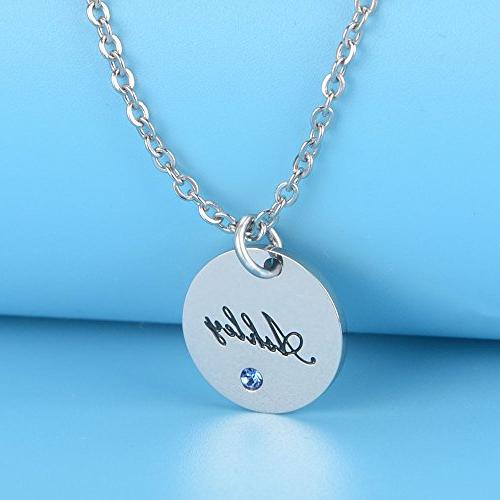 Bala Personalized Birthstone Silver Disc Round