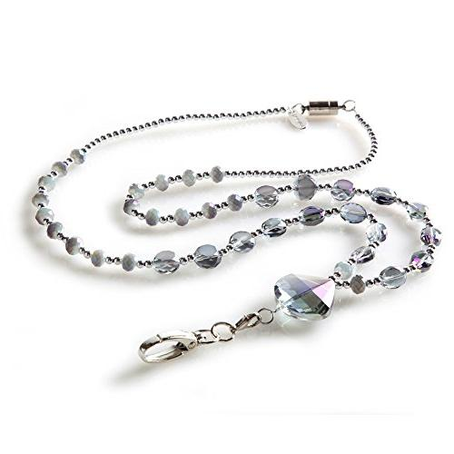 Aurora Smokey Colored Name Holder Necklace with Breakaway Safety