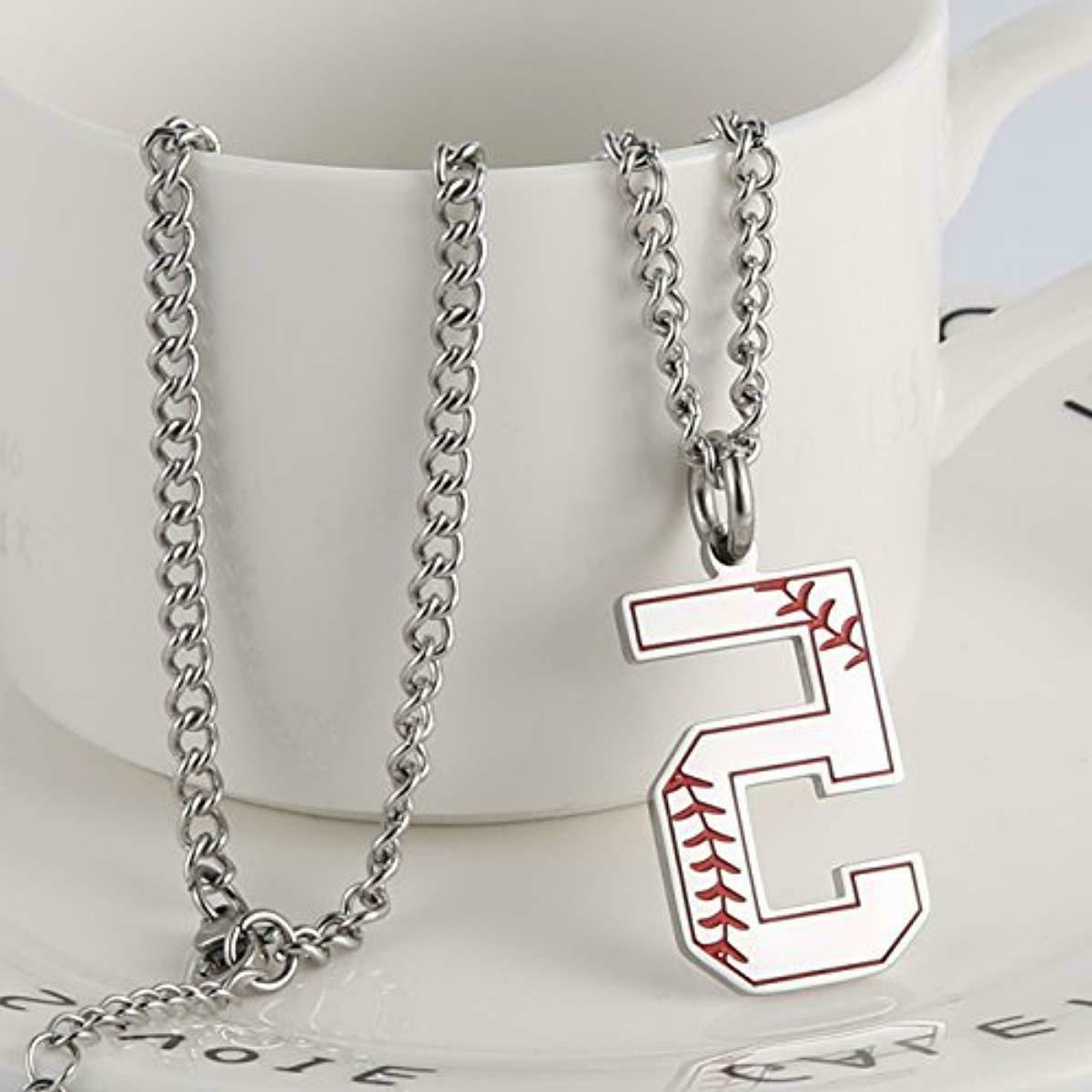 HZMAN Baseball Initial Necklace Inspiration Number C
