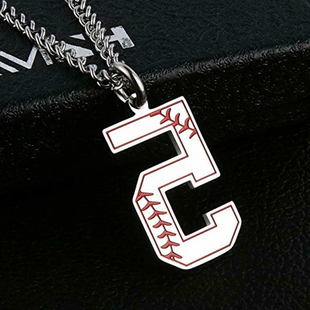 HZMAN Baseball Initial Necklace Inspiration Number
