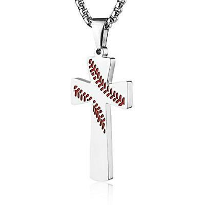 Baseball Necklaces Cross I CAN ALL THINGS Steel
