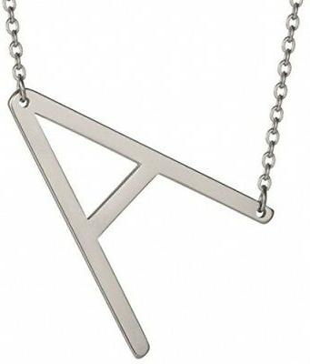 HUAN XUN Big Initial A Necklaces Stainless Steel Jewelrys Na