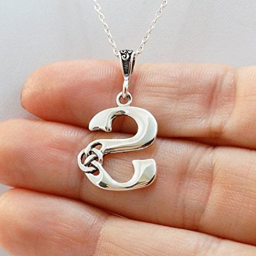 FashionJunkie4Life Celtic S Pendant Necklace 925 Sterling Silver Celtic