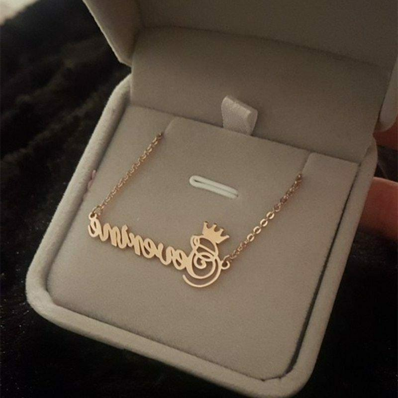 custom crown name necklace for girls kids