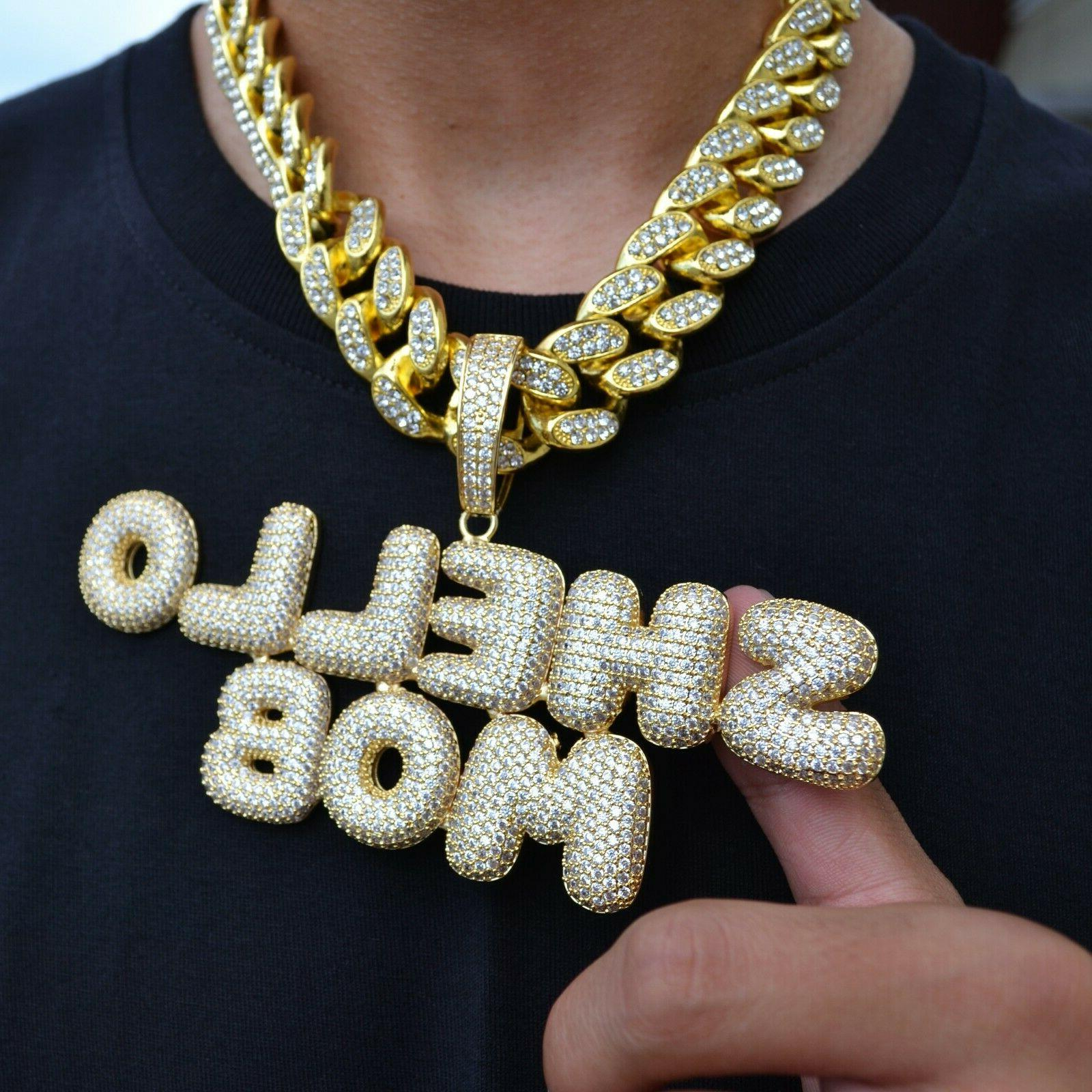 Custom Bubble Name with Hip Hop Cuban Rope Chain Necklace