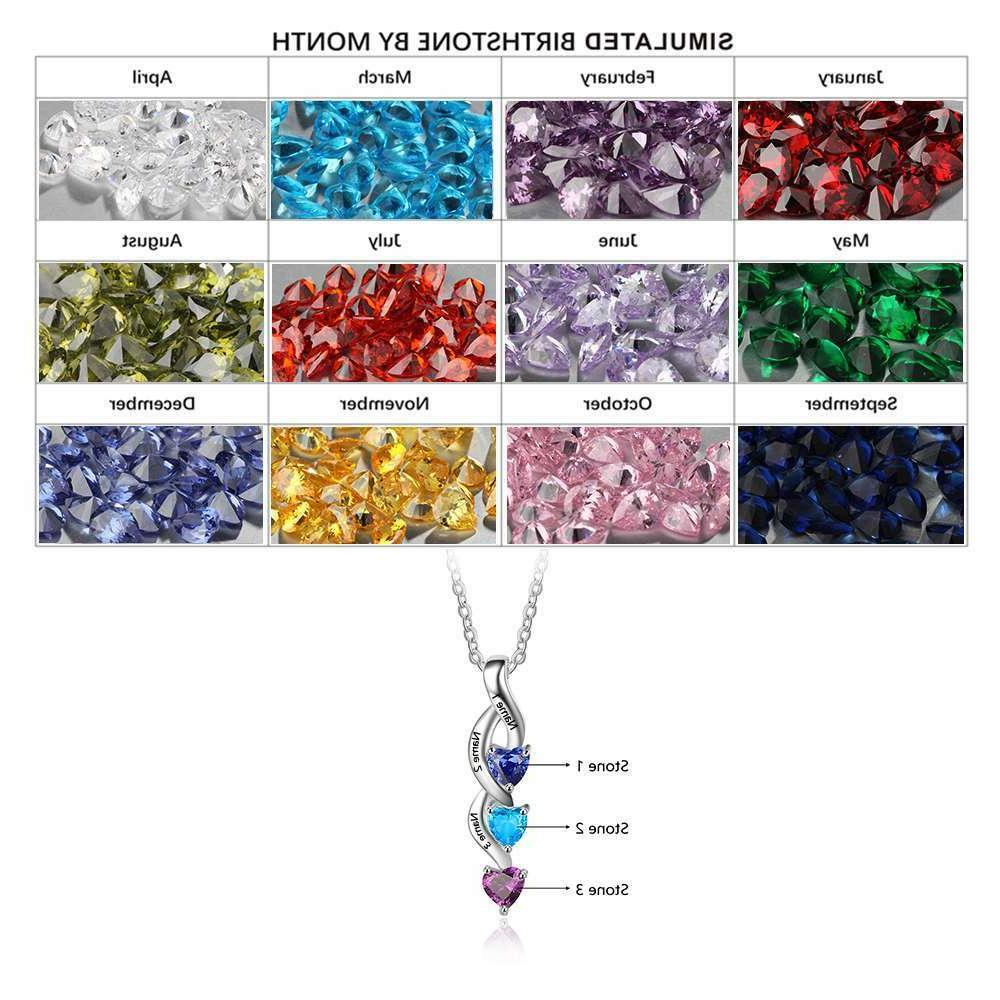 Custom Name Birthstone Personalized Heart Necklace