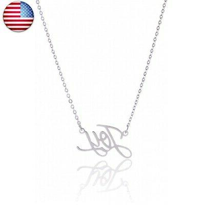 custom name necklace personalized initial joy silver